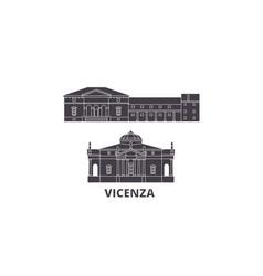 Italy vicenza flat travel skyline set italy vector