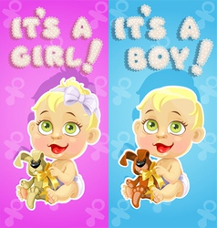 Its a boy and its a girl announcement card vector image