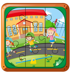 Jigsaw puzzle game with kids skating on the road vector