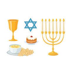 judaism church traditional symbols icons set vector image