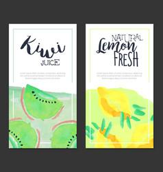 Kiwi juice natural lemon fresh banner template vector