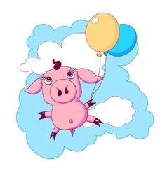 Little piggy with balloons flying in the sky vector