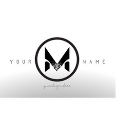 M logo letter with digital pixel tech design vector