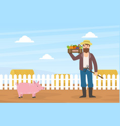 male farmer holds box vegetables autumn rural vector image