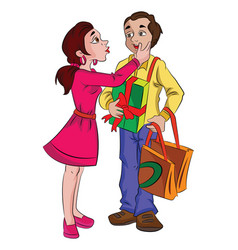 Man with presents for his sweetheart vector