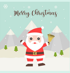 merry christmas hand lettering headline with santa vector image