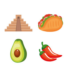 mexican culture set icons vector image