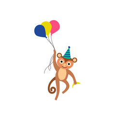Monkey wearing party hat flying with balloons vector