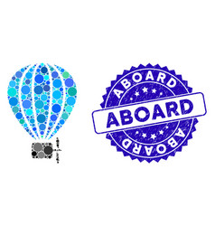 Mosaic air balloon icon with distress aboard stamp vector