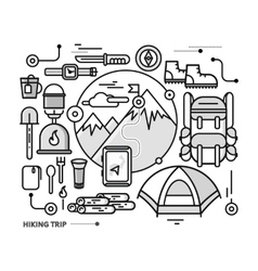 Mountains with Snow Peaks and Tourist Equipment vector image
