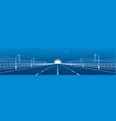 Night empty highway vector