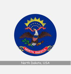 north dakota round circle flag vector image
