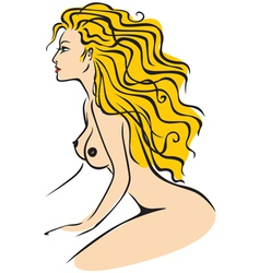 Nude lady color vector