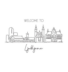 one continuous line drawing ljubljana city vector image