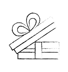 Open gift box bow ornament celebration sketch vector