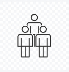outline three people icon isolated on transparent vector image