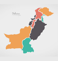 Pakistan map with states and modern round shapes vector