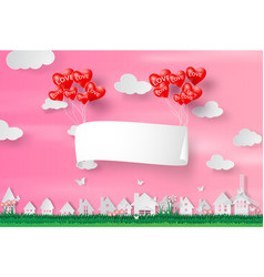 paper art and craft of happy valentine day vector image