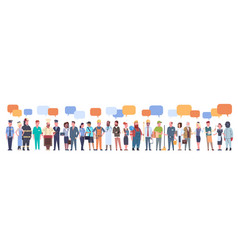 People group with chat bubble different occupation vector