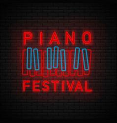 piano symbol neon vector image