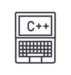 programming coding c plus line icon sign vector image