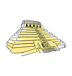 Pyramid kukulkan hand drawn icon vector