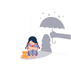 Sad little girl with teddy bear sitting on floor vector