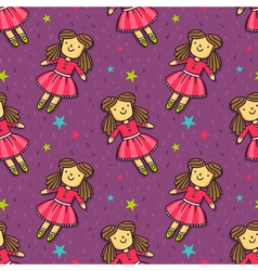 seamless pattern with cute doll in pink dress vector image