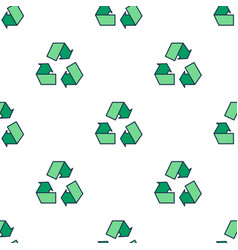 seamless pattern with green eco reuse icon vector image