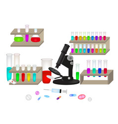 set for the laboratory microscope multicolored vector image