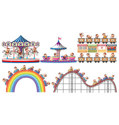 Set happy monkeys playing different rides in vector