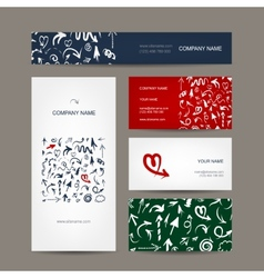 Set of business cards arrow pattern for your vector image