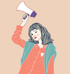 she holds a mic and wears a vest in a lifestyle vector image