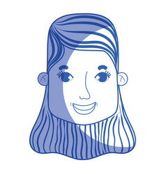 silhouette woman face with hairstyle and vector image