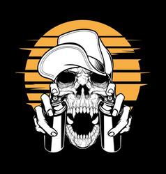 Skull in cap holding a spray paint hand vector