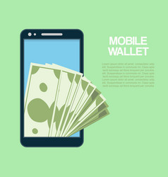 smartphone with cash money mobile wallet vector image