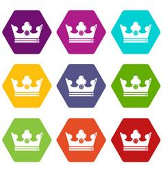 steel crown icons set 9 vector image