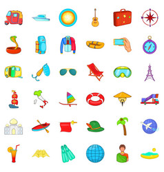 Summer travel icons set cartoon style vector