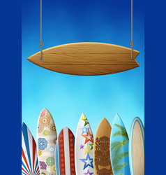 surf sign and surfboards vector image