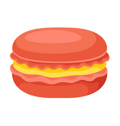Sweet and sugary macaron with peach filling vector