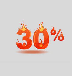 Thirty percent discount numbers on fire vector