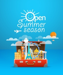Travel bag vacation design template open s vector