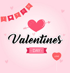 valentines day pink arrow heart in pink blackgroun vector image