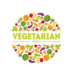 vegeterian menu farm fresh colorful vegetables in vector image