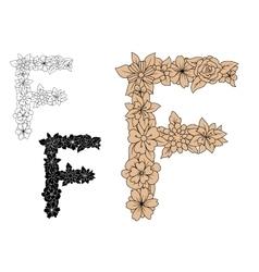 Vintage floral capital letter F vector