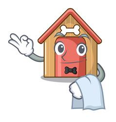 waiter dog house isolated on mascot cartoon vector image