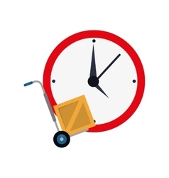 wall clock and hand truck icon vector image