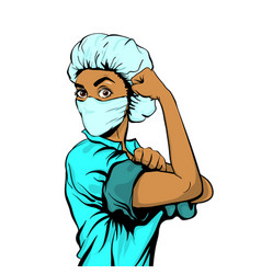 We can do it woman doctor in medical mask vector