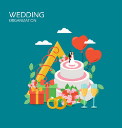 Wedding organization flat style design vector