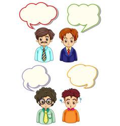 four men and speech bubbles vector image vector image